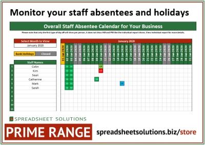 Staff Absentee Schedule – £180