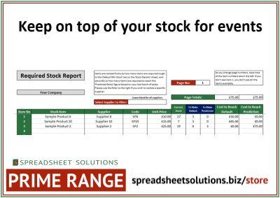 Event Stock Management Calculator – £220