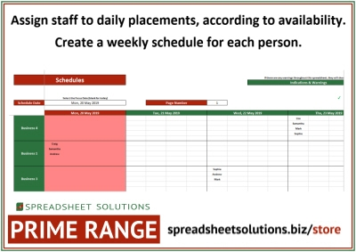Daily Staff Placement Schedule – £420