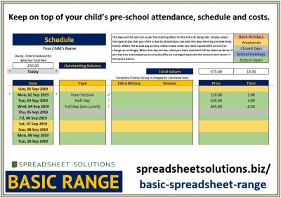 Pre-School Schedule – £25