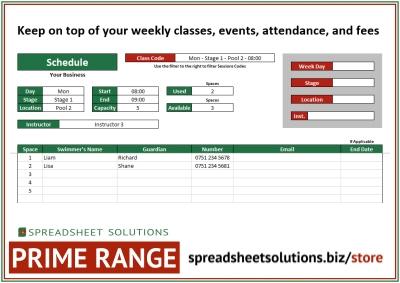 Spreadsheet Solutions - Activity Class Schedule