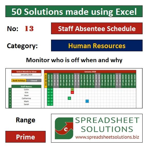 13. Staff Absentee Schedule
