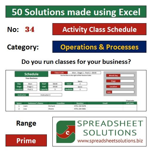 34. Activity Class Schedule