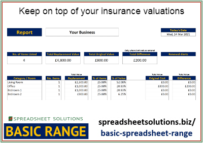 Insurance Contents Valuation List – £35