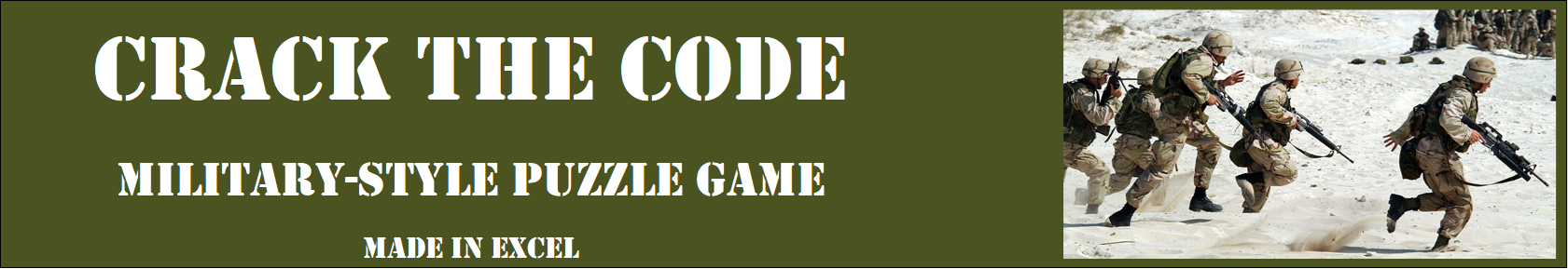 Crack the Code - Military-style Game made in Excel
